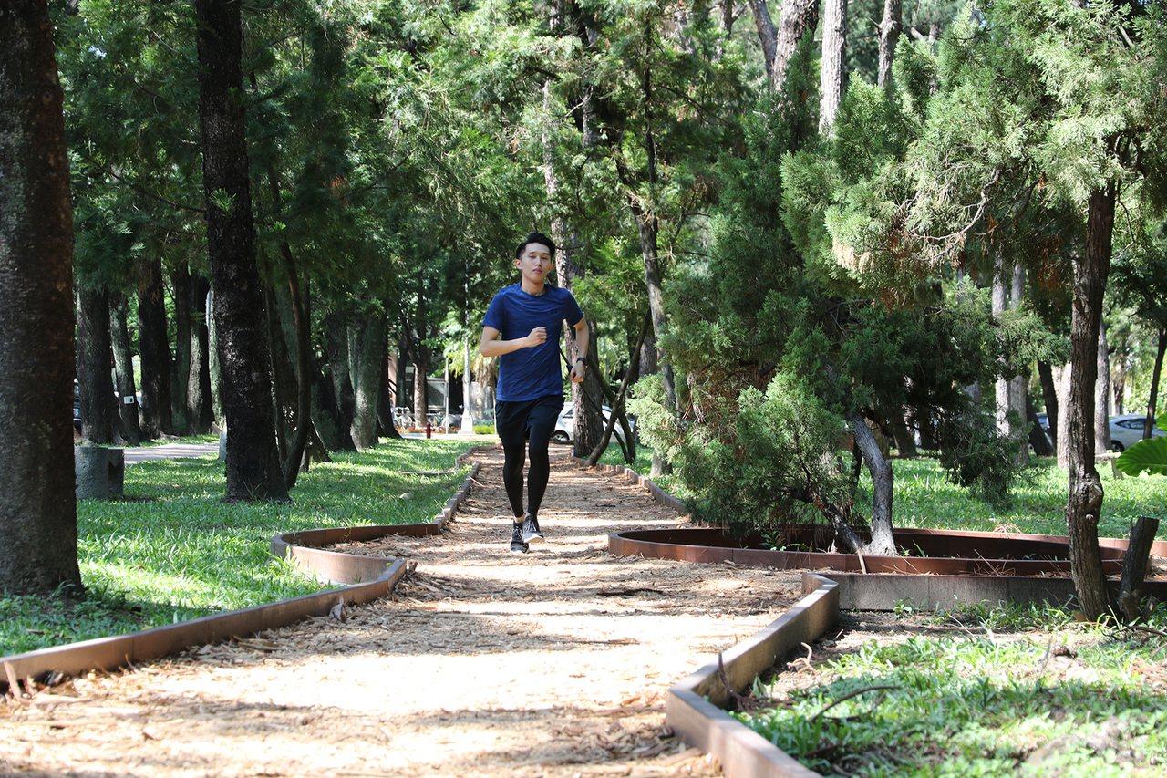 興大環校步道起點是「黑森林練功區」,每天清晨總聚集許多民眾在這裡運動、練功。 記...
