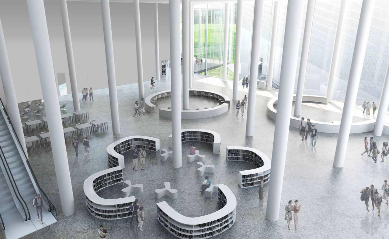 日本建築師妹島和世新作台中綠美圖,內部空間挑高,美術館最高挑高27公尺。 圖/台...