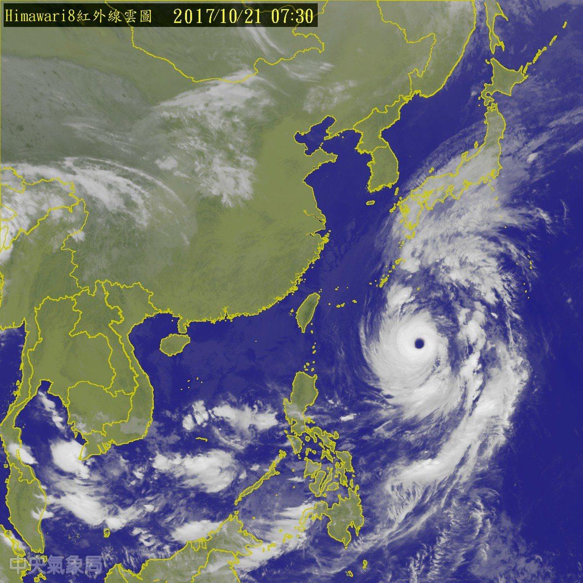 鄭明典表示,蘭恩颱風有清澈渾圓的大眼。圖/翻攝自氣象局網站