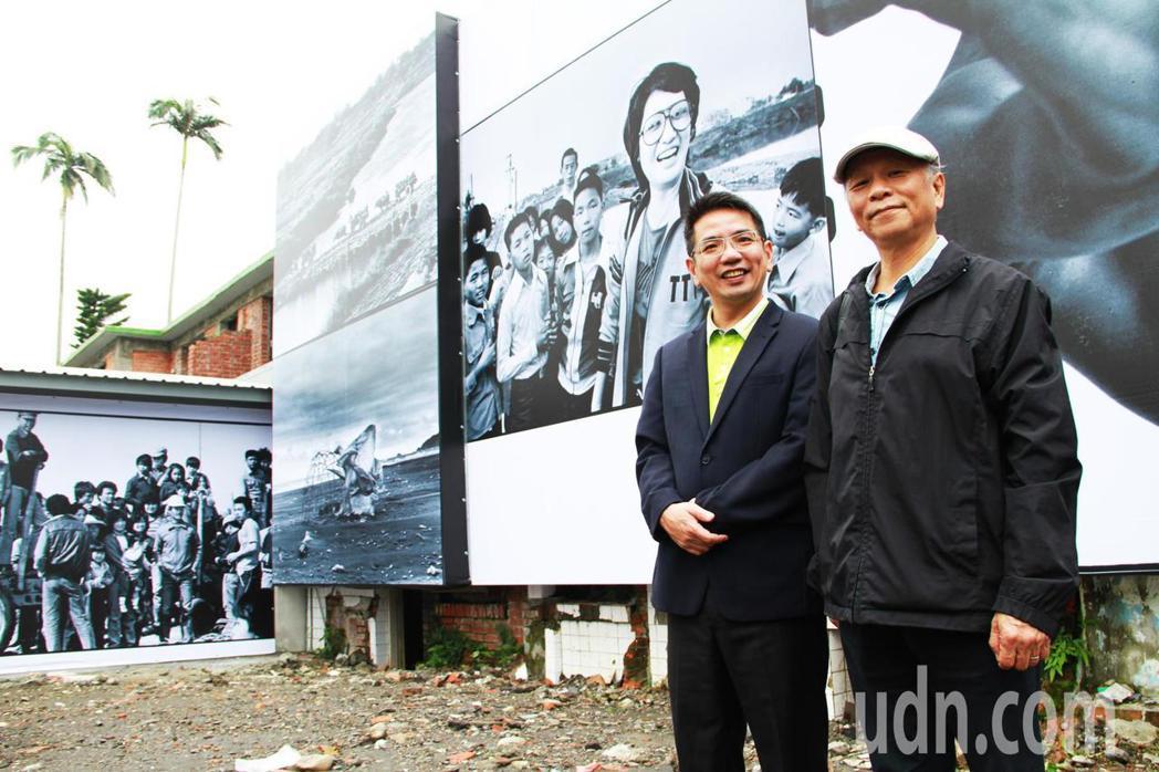 攝影家阮義忠 (右)與宜蘭市公所合作,利用影像等作品,把半世紀福州巷變台灣故事館...