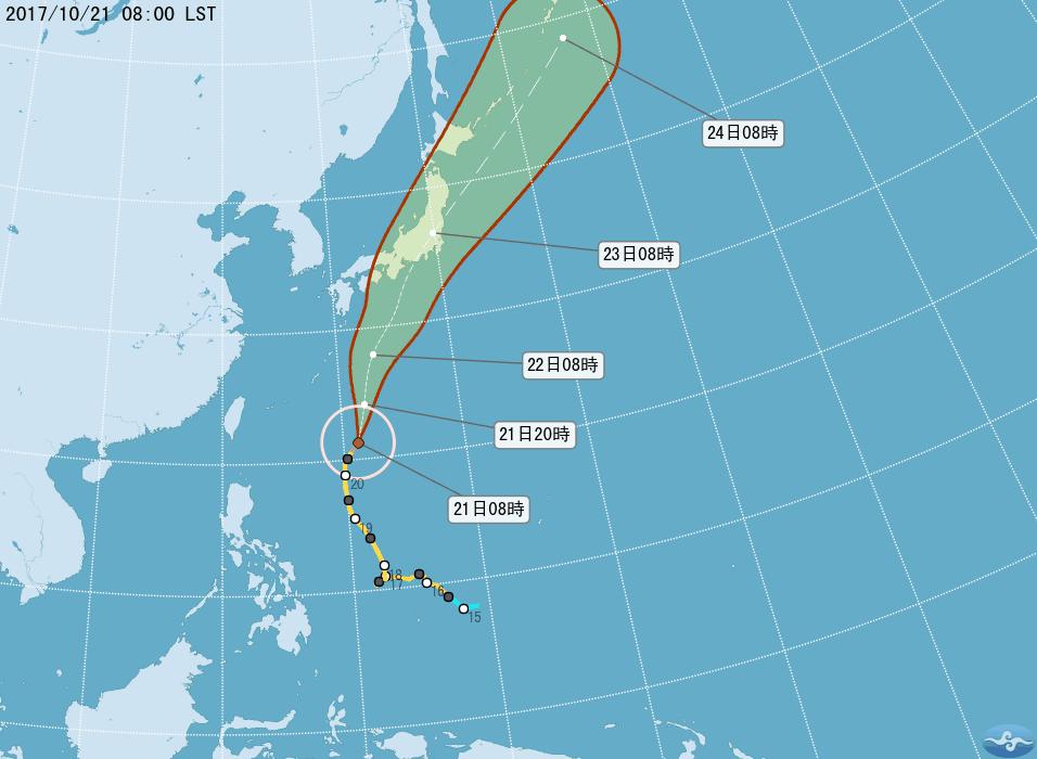 蘭恩颱風目前位於台灣東南東方海面。圖/翻攝自氣象局網站