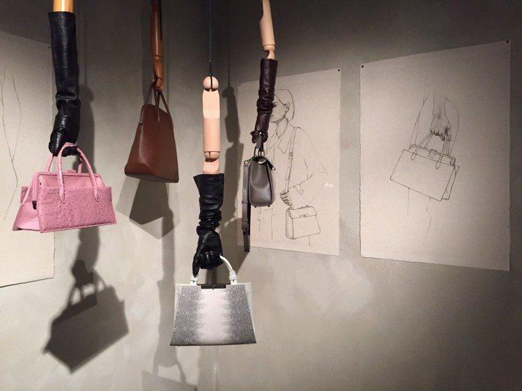 天母另空間所陳列的JAMEI CHEN 30周年靜態展包款宛如藝術品。圖/記者楊...