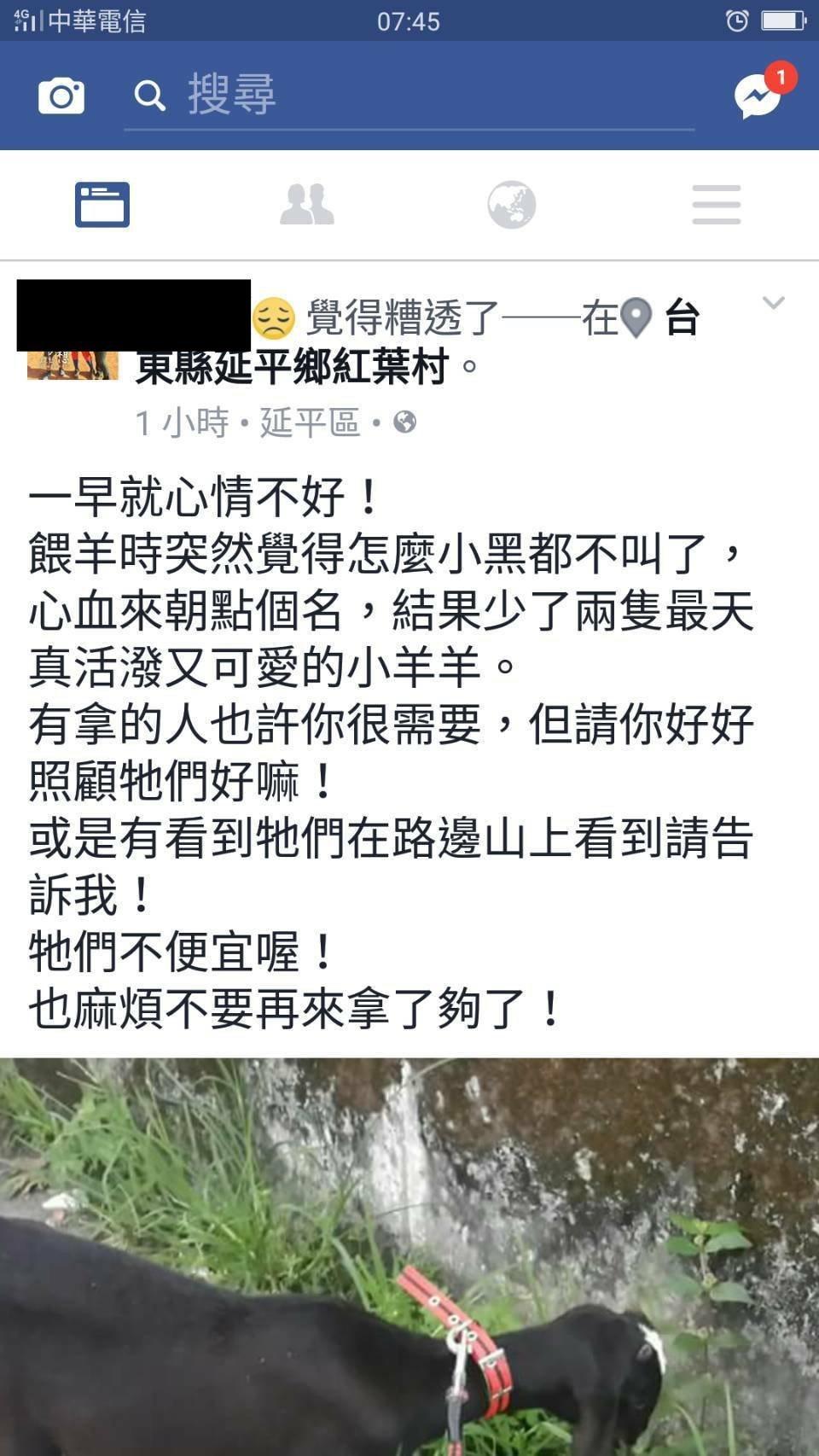 台東縣延平地區日前有鄉民在個人臉書PO文「小羊不見了,」隨即引發網友熱議,隔日找...