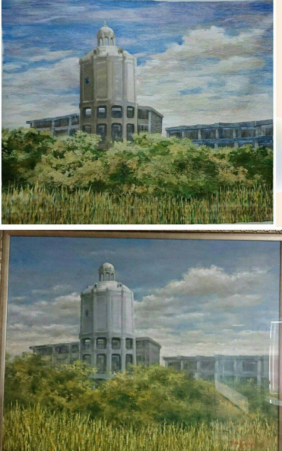 上圖是繡畫下圖是油畫,上下對照幾乎一模一樣。記者卜敏正/翻攝