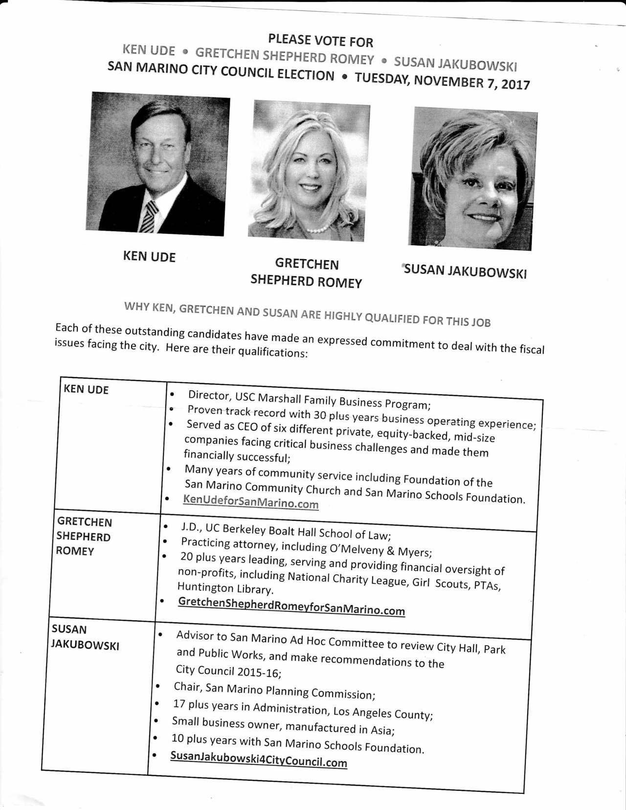 印有三位白人候選人的傳單。記者李雪/攝影