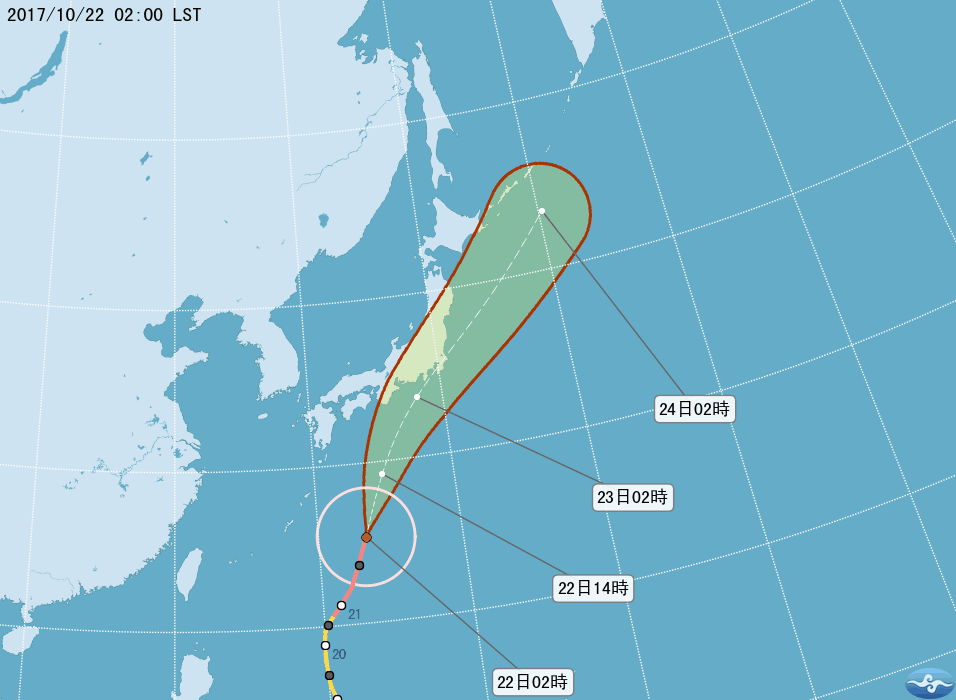強颱蘭恩往日本方向前進,請預計赴日民眾留意其動態及航班資訊。圖/翻攝氣象局網站