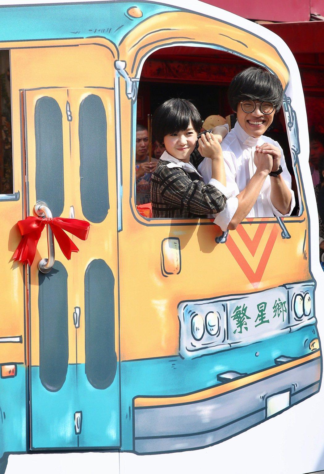 電影「花甲大人轉男孩」舉行開鏡記者會,盧廣仲(右)與嚴正嵐(左)出席。記者林伯東...