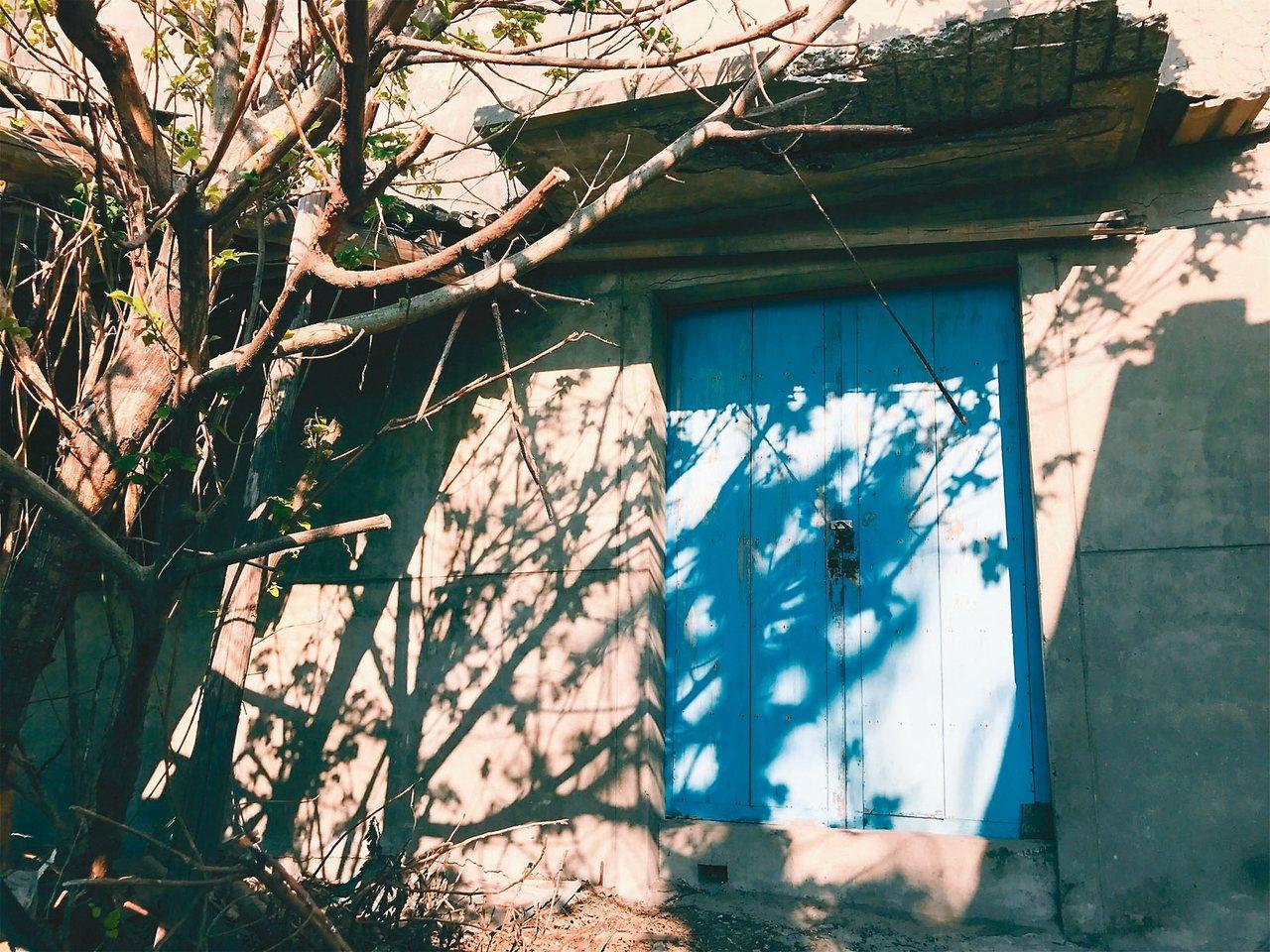 藍色木門。  Carol