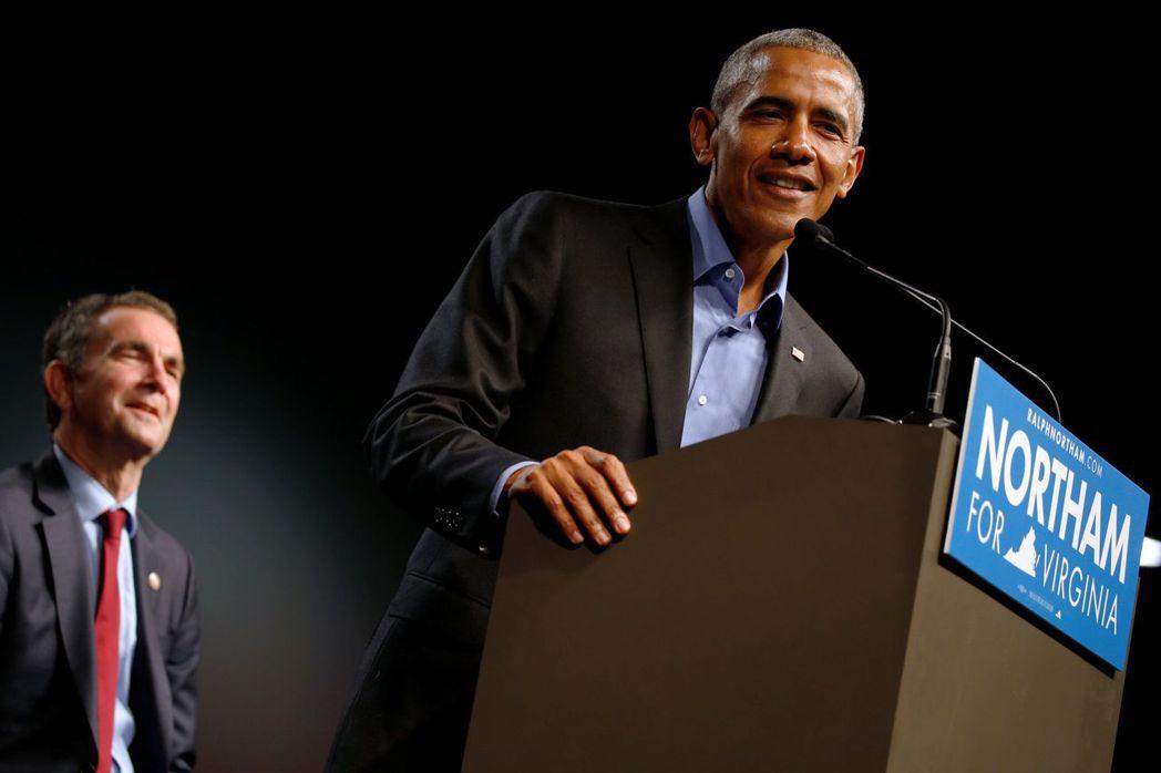 歐巴馬上周替維吉尼亞州民主黨籍州長候選人站台,是他卸任後首度出現政治場合。(路透...