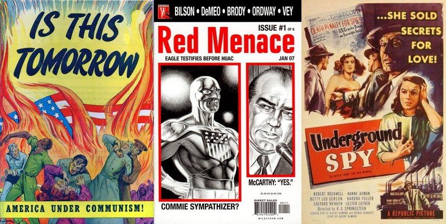 與反共主題相關的宣傳物與作品無所不在,深值冷戰時期美國社會的各個角落。左圖為反共...