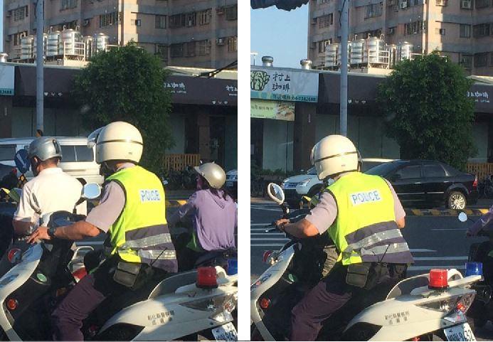 有名機車騎士騎車在彰化市金馬路和建國北路交叉路口停等紅燈,趁紅燈時拿手機出來低頭...