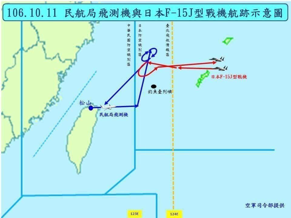藍委披露,民航局飛測機日前執行任務時,在台灣飛航情報區、防空識別區邊線上遭日本軍...