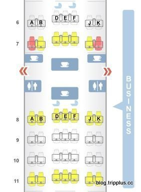阿聯酋航空Boeing 777-300ER機型的商務艙配置圖文來自於:TripP...