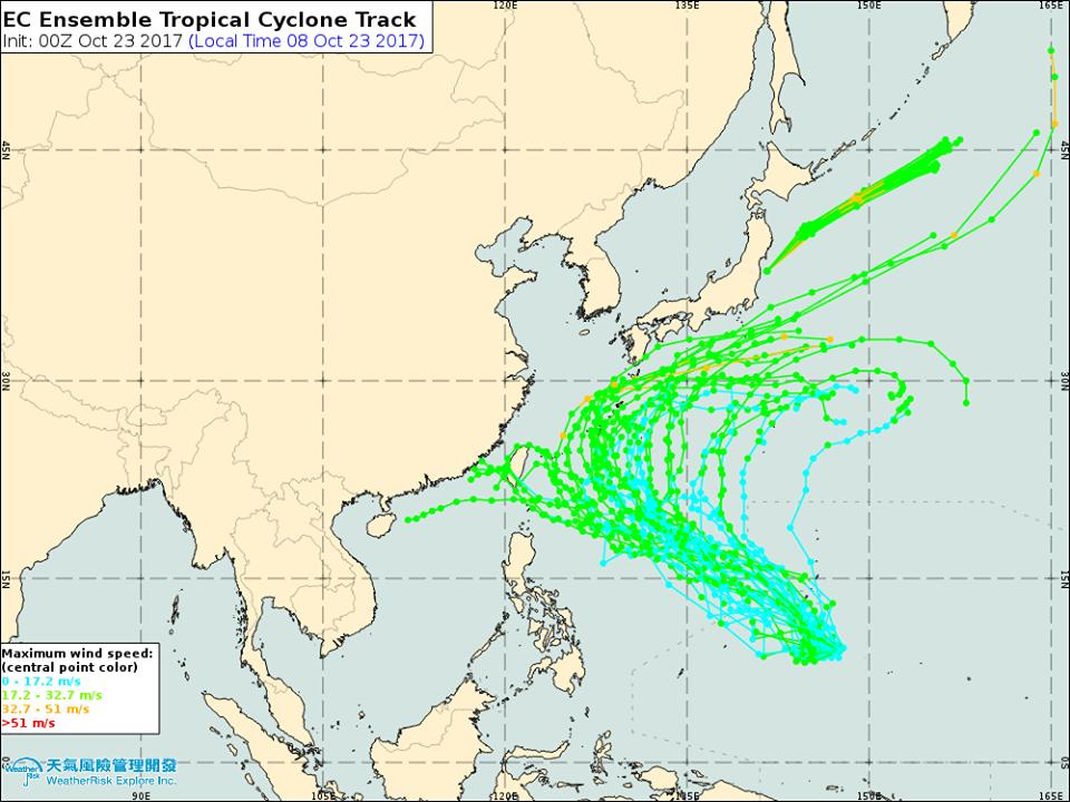 關島附近發展的熱帶性低氣壓,可能今天到周三被命名為今年第22號颱風蘇拉,目前路徑...