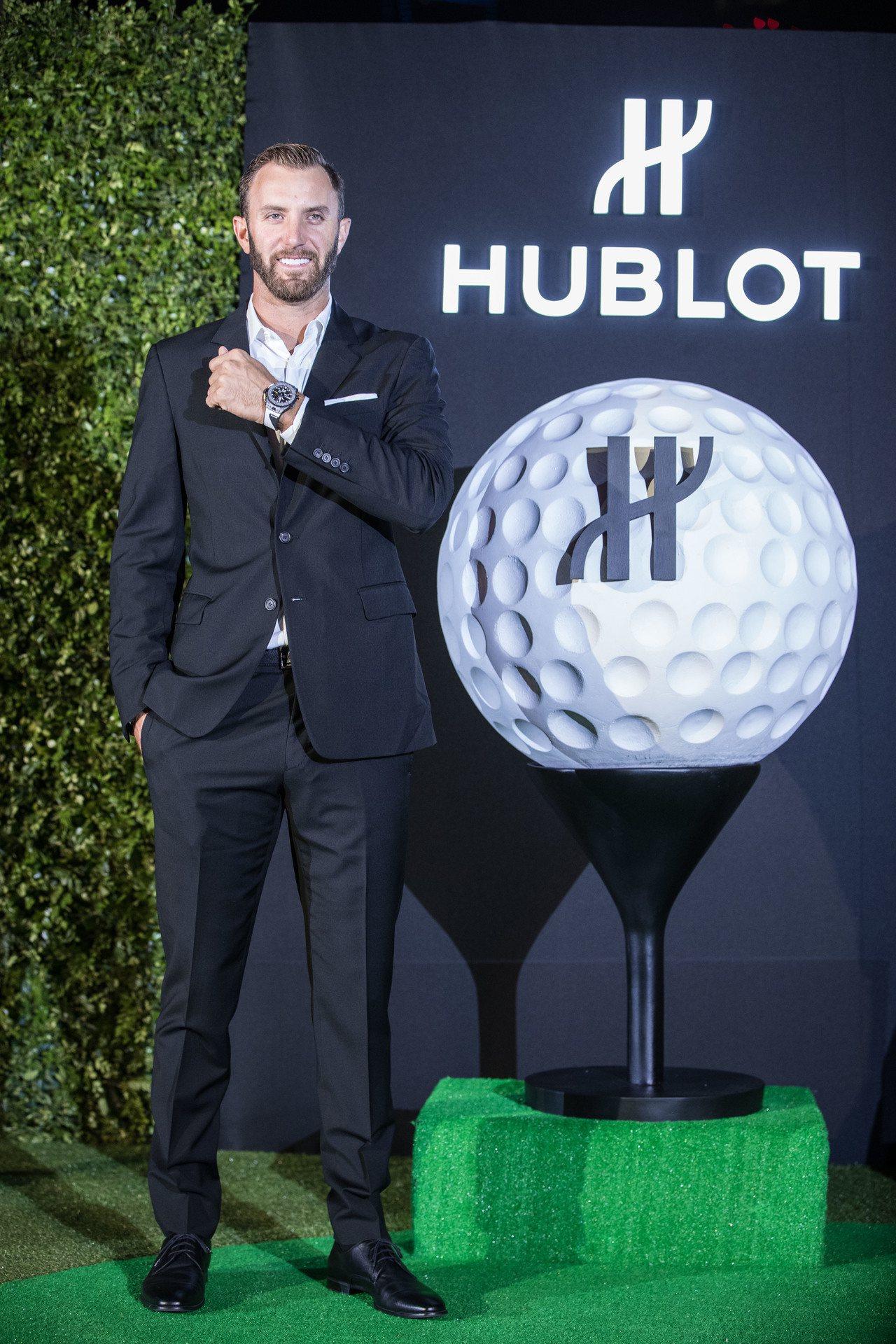 球王Dustin Johnson親自飛抵上海,揭曉宇舶首款高爾夫球腕表。圖/HU...