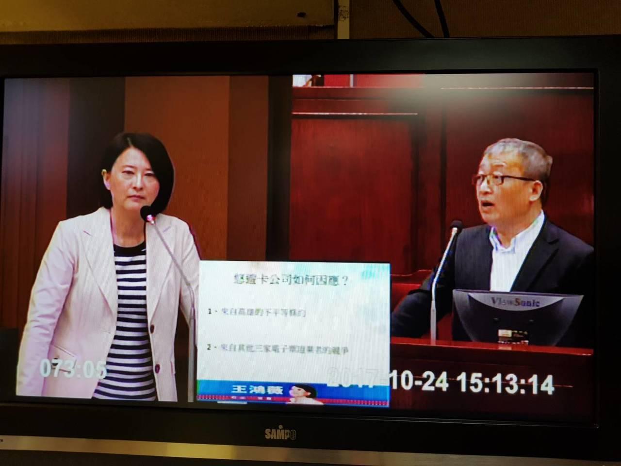 議員王鴻薇(左)在議會質詢悠遊卡董座林向愷,為何悠遊卡被輕軌排除,又不能在高捷站...