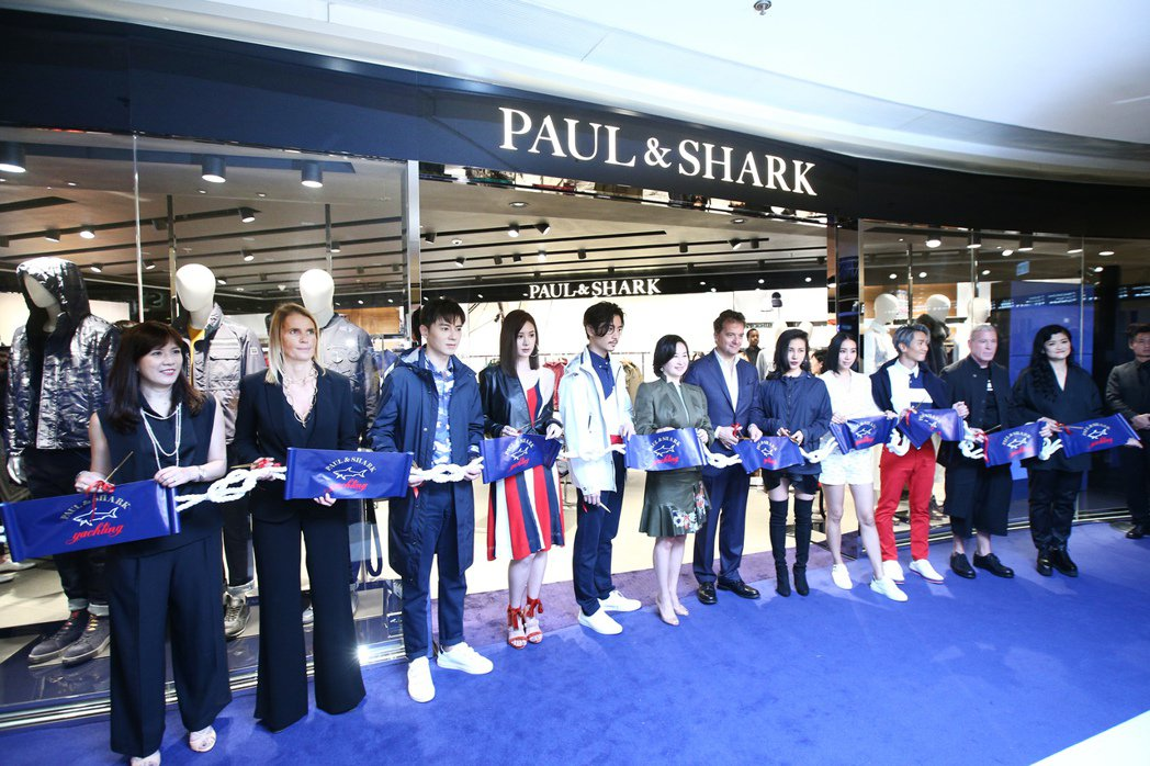 Paul&Shark第一家旗艦店在香港開幕剪綵。記者蘇健忠/攝影