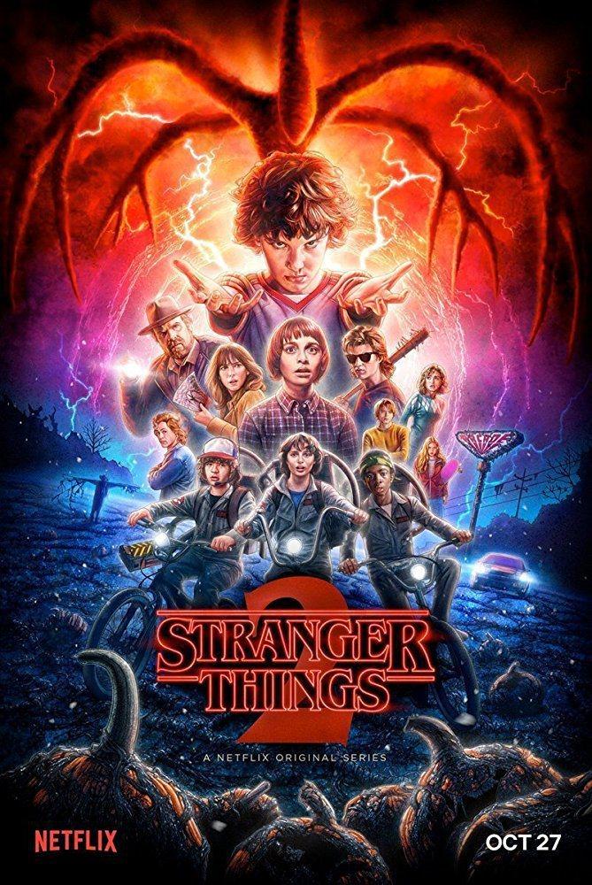 「怪奇物語」第2季海報風格同樣走熱鬧炫麗路線。圖/摘自imdb
