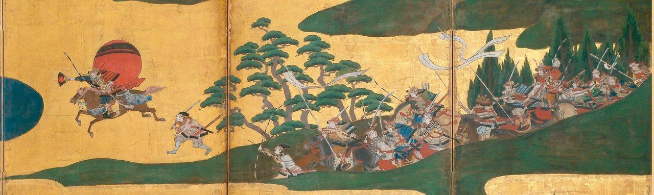 圖1:源氏武將熊谷直實(左)右手拿著摺扇宣戰,17世紀初,畫家不詳。 圖╱聖路易...