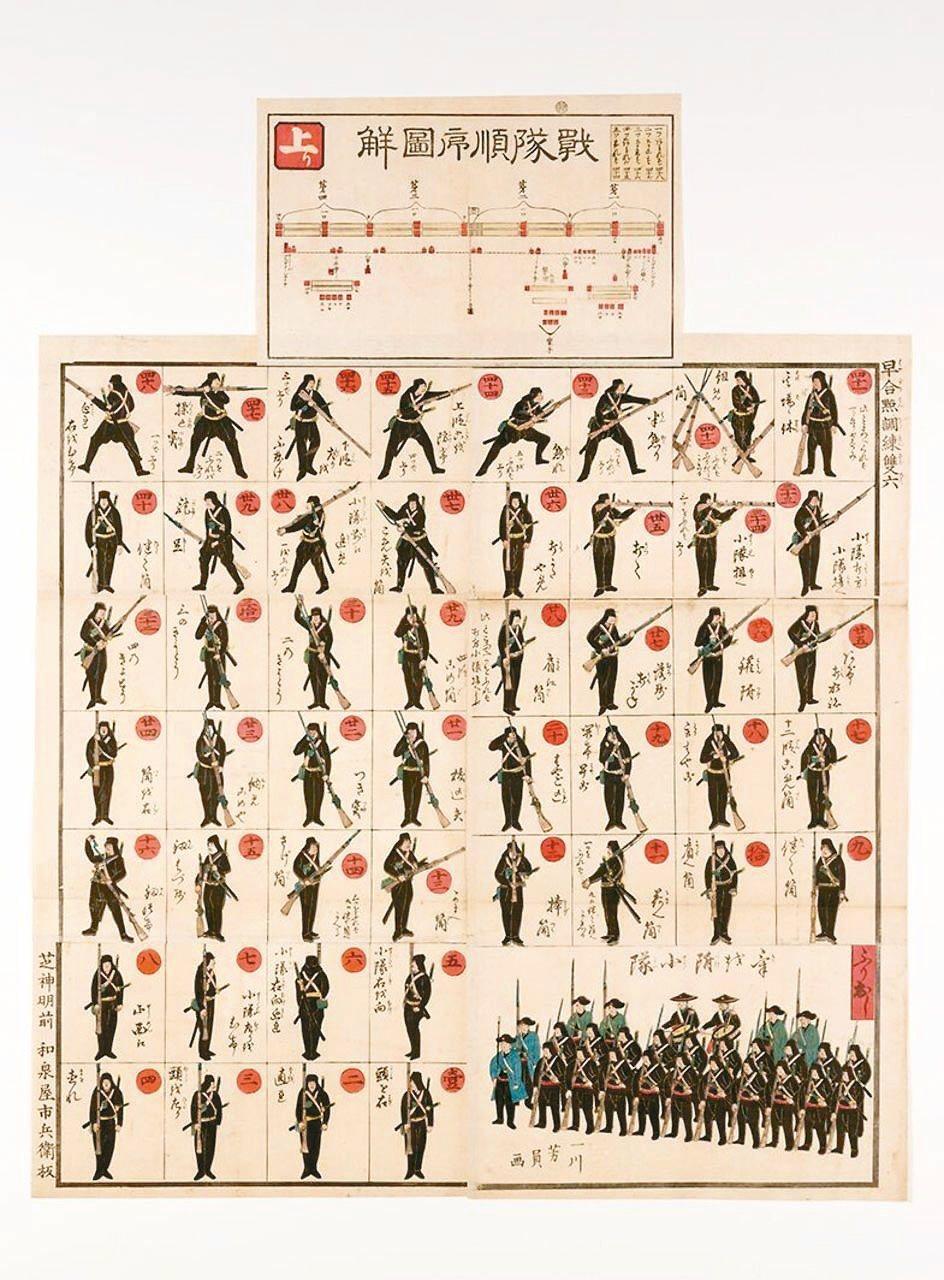 圖5:〈早合點調練雙六〉,歌川芳員畫,1866年。 圖╱聖路易藝術博物館提供