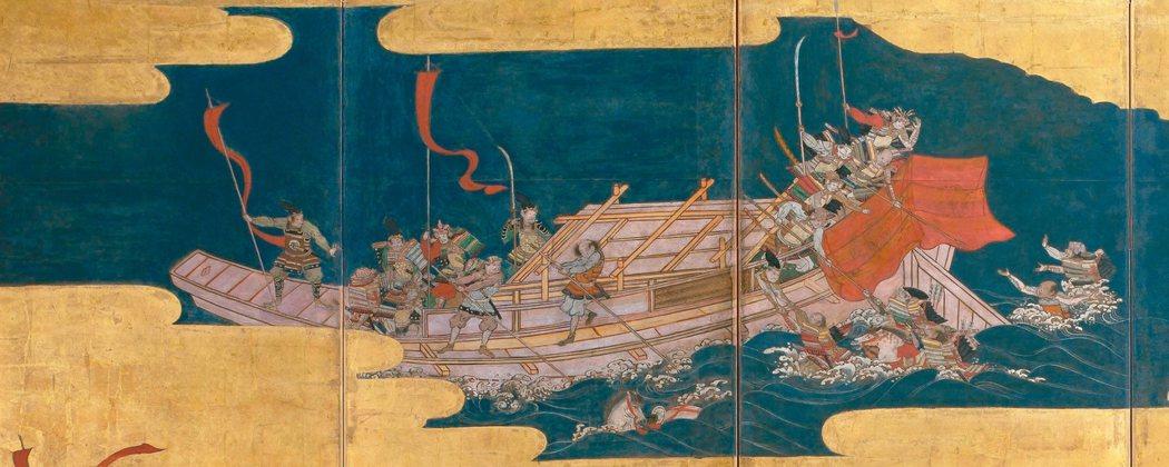 圖3:船上的平氏武士伸出雙手,撐出長竿,努力拯救同袍。 圖╱聖路易藝術博物館提供