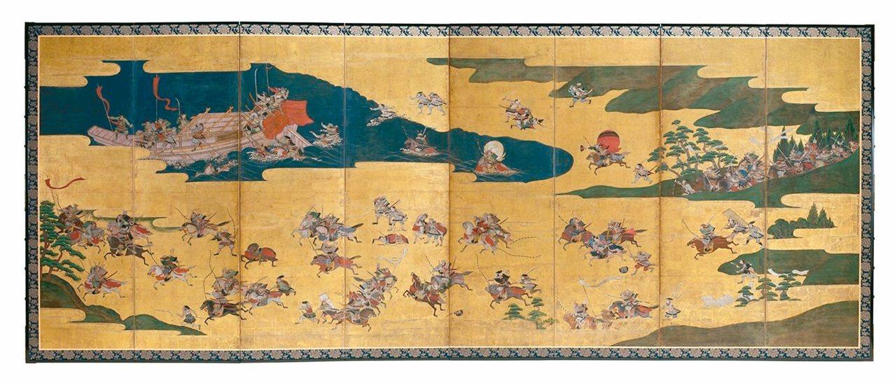 圖2:描繪源氏及平氏爭權的〈一之谷合戰圖屏風〉,17世紀初。 圖╱聖路易藝術博物...