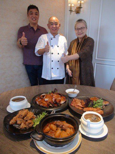 來自香港的粵菜名廚葉志光(中),入行近50年,他在知名造型馬卡龍店「天鵝脖子街」...