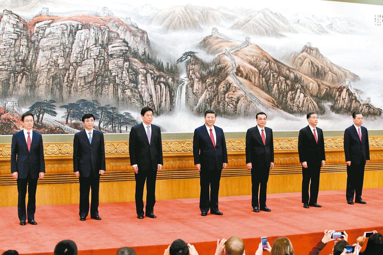 中共第十九屆中央政治局常委亮相,由左至右依序為韓正、王滬寧、栗戰書、習近平、李克...