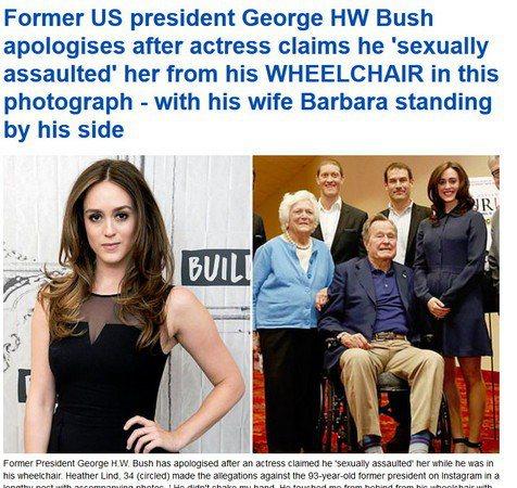 美國女演員希瑟林德指控坐在輪椅上的前總統老布希從後面摸她屁股!右圖的最右邊一人為...