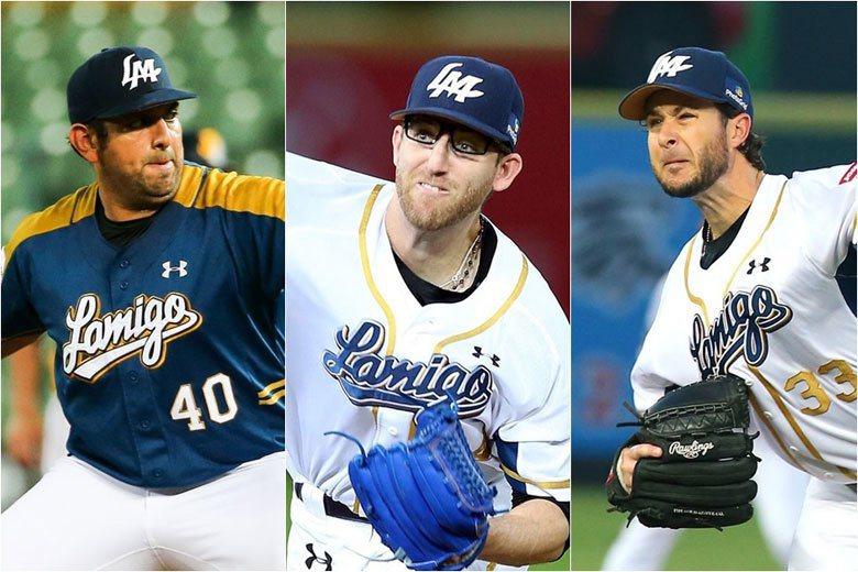 賽格威(左)、史博威(中)、道恩斯(右),這三位洋投整季對戰兄弟也才4敗,從他們...
