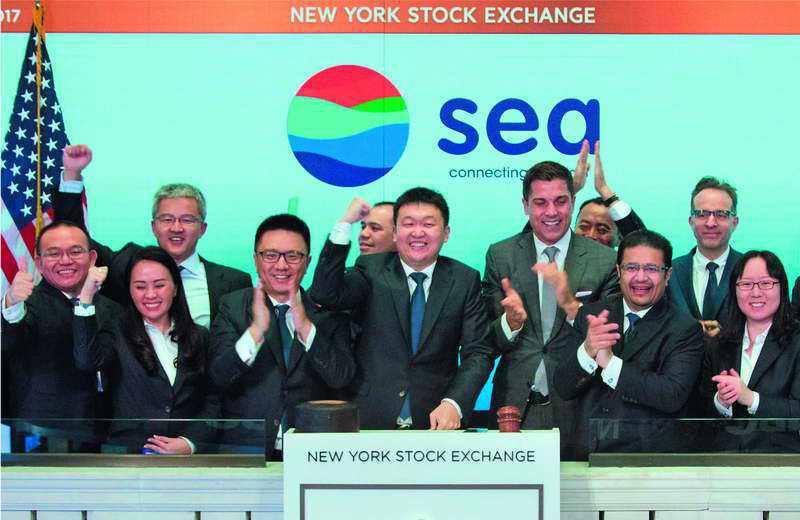 總部在新加坡的Sea,風光在美國紐約證交所舉行掛牌儀式。 Sea Group提供