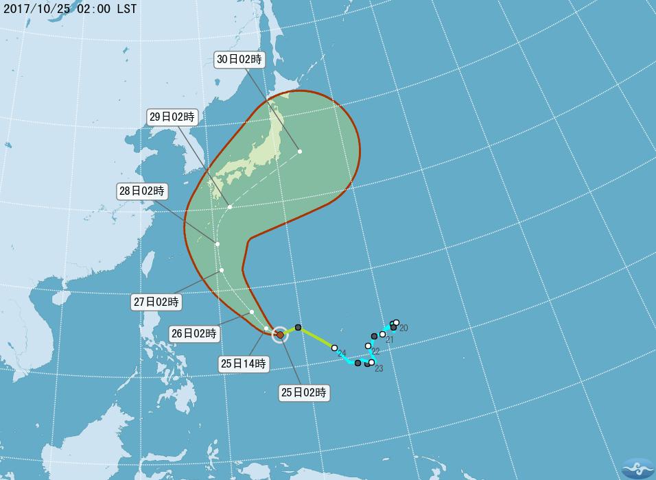 輕颱蘇拉先向西北前進,接近琉球附近轉向東北。圖/翻攝自氣象局網站