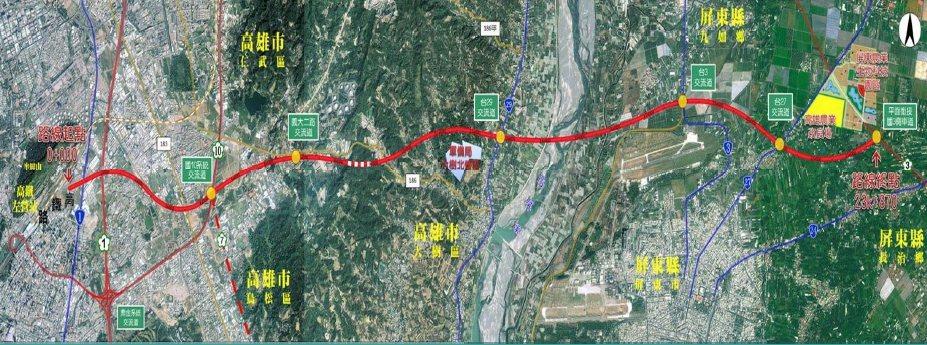 圖為屏東第二條東西向快速道路路線圖。記者翁禎霞/翻攝