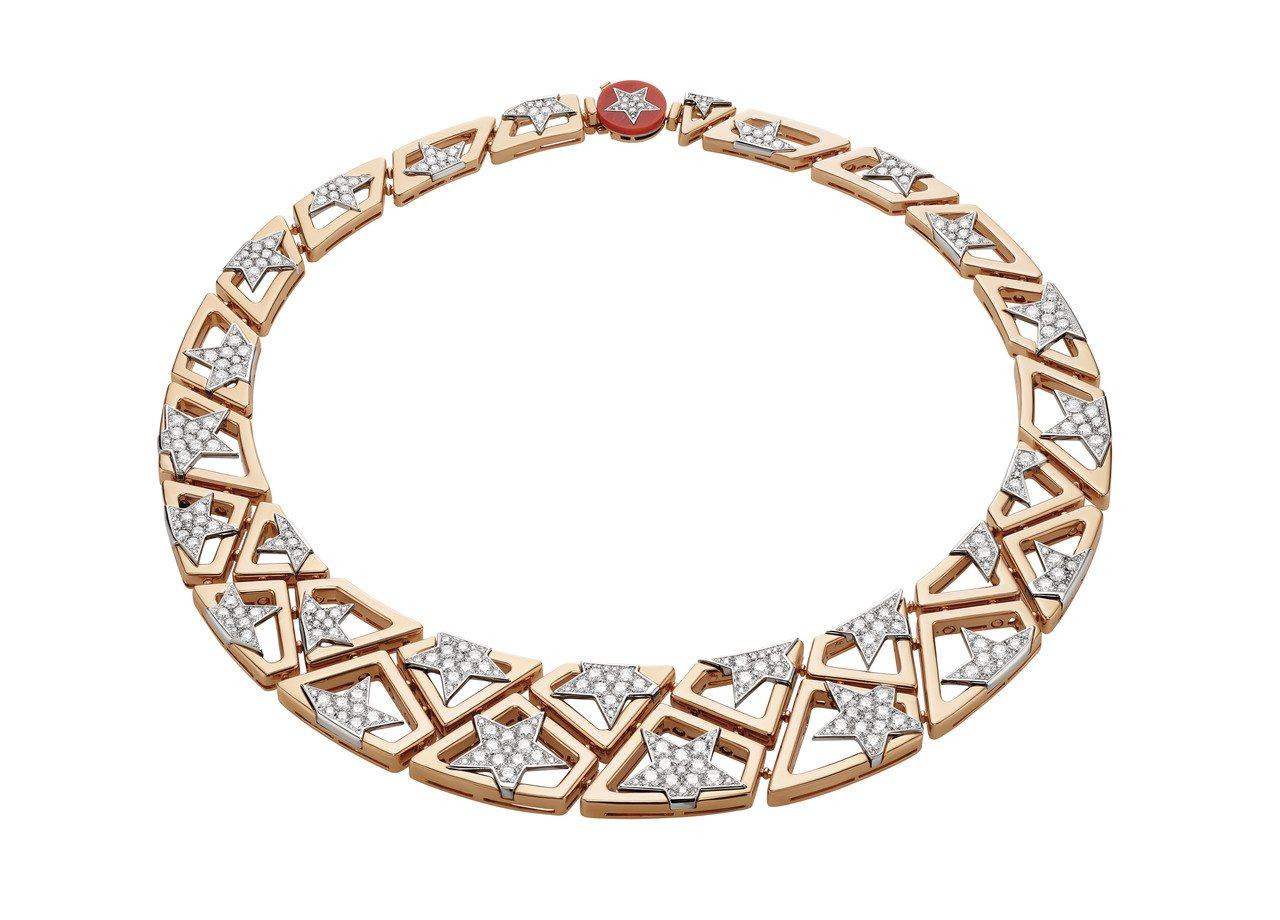 New York Capsule系列珠寶,頂級鑽石與紅珊瑚項鍊。圖/BVLGAR...