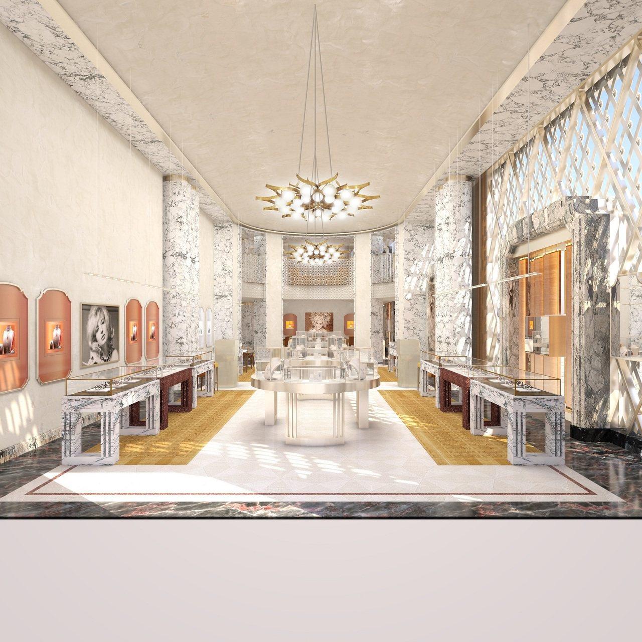 寶格麗紐約第五大道旗艦店內部格局宛如義大利歌劇院,奢華大器。圖/BVLGARI提...