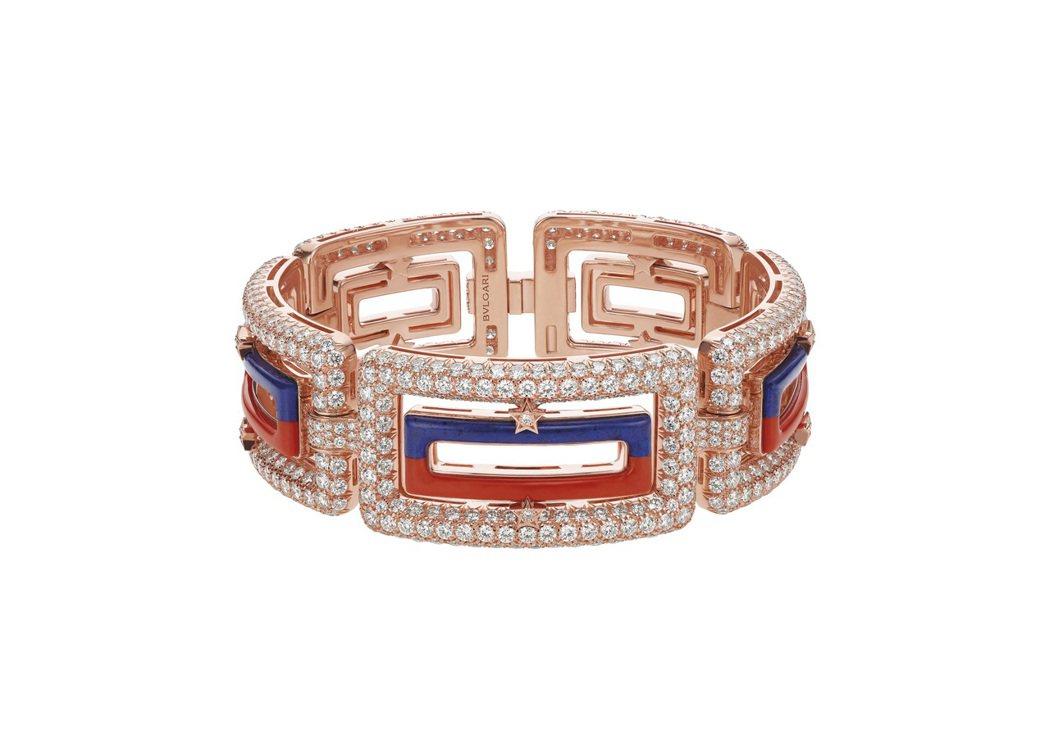New York Capsule系列珠寶,頂級紅珊瑚與青金石鑽石手鐲。圖/BVL...