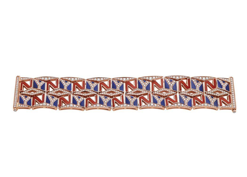 New York Capsule系列珠寶,頂級玫瑰金手鍊,鑲嵌義大利野生紅珊瑚、...