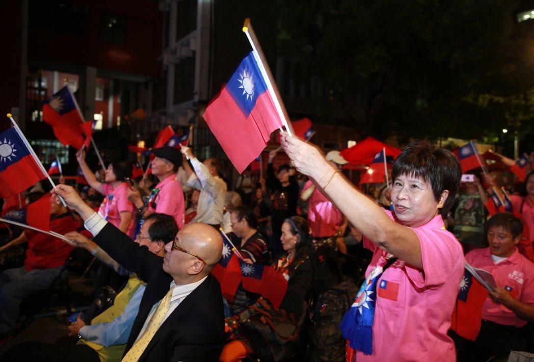 民眾隨著音樂揮舞國旗。記者徐兆玄/攝影