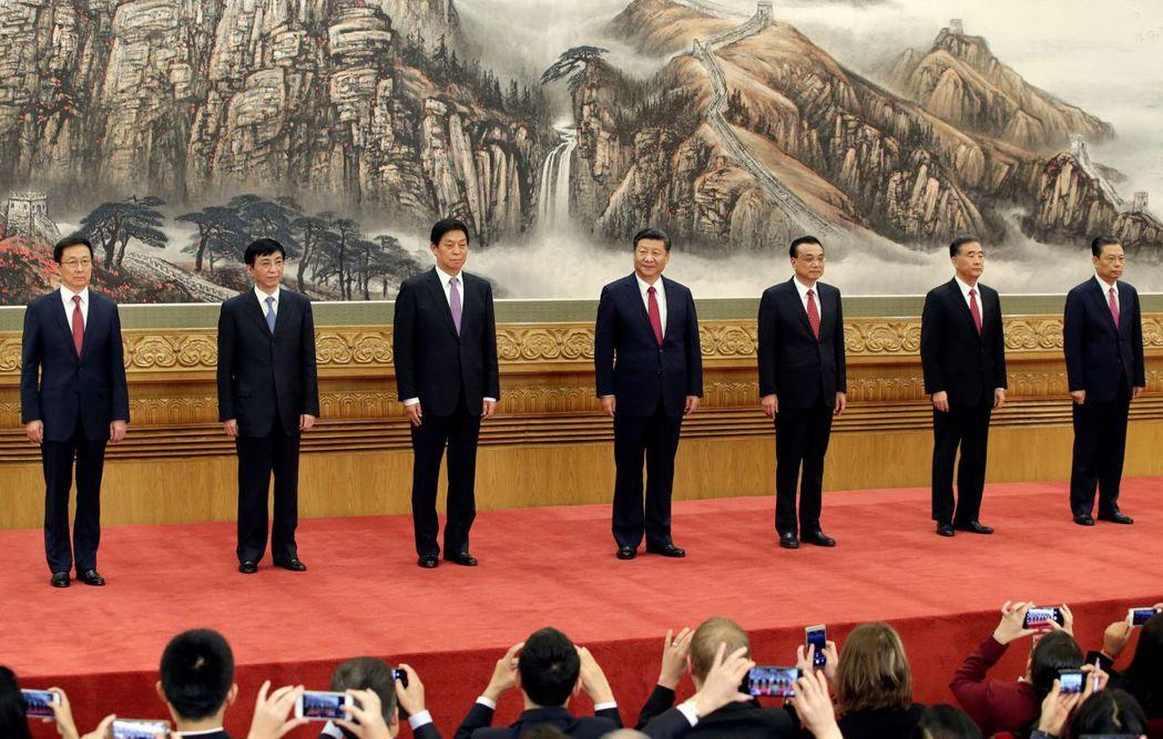 中共新一屆領導班子亮相。(圖/路透)