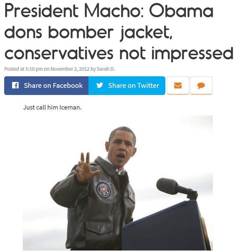 歐巴馬穿的飛行夾克,也受到許多軍事迷關注。 圖/摘自twitchy網站