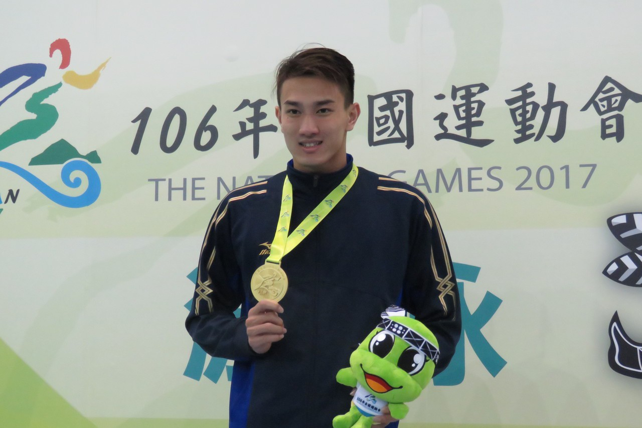 游泳好手安廷耀在宜蘭全運參加6項賽事,獲5金、1銀佳績。 圖/全運會大會提供...