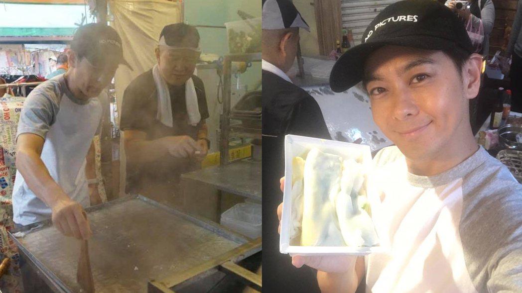 林志穎大哥林志杰在四平街賣腸粉。圖/記者杜沛學攝影、擷自林志穎臉書