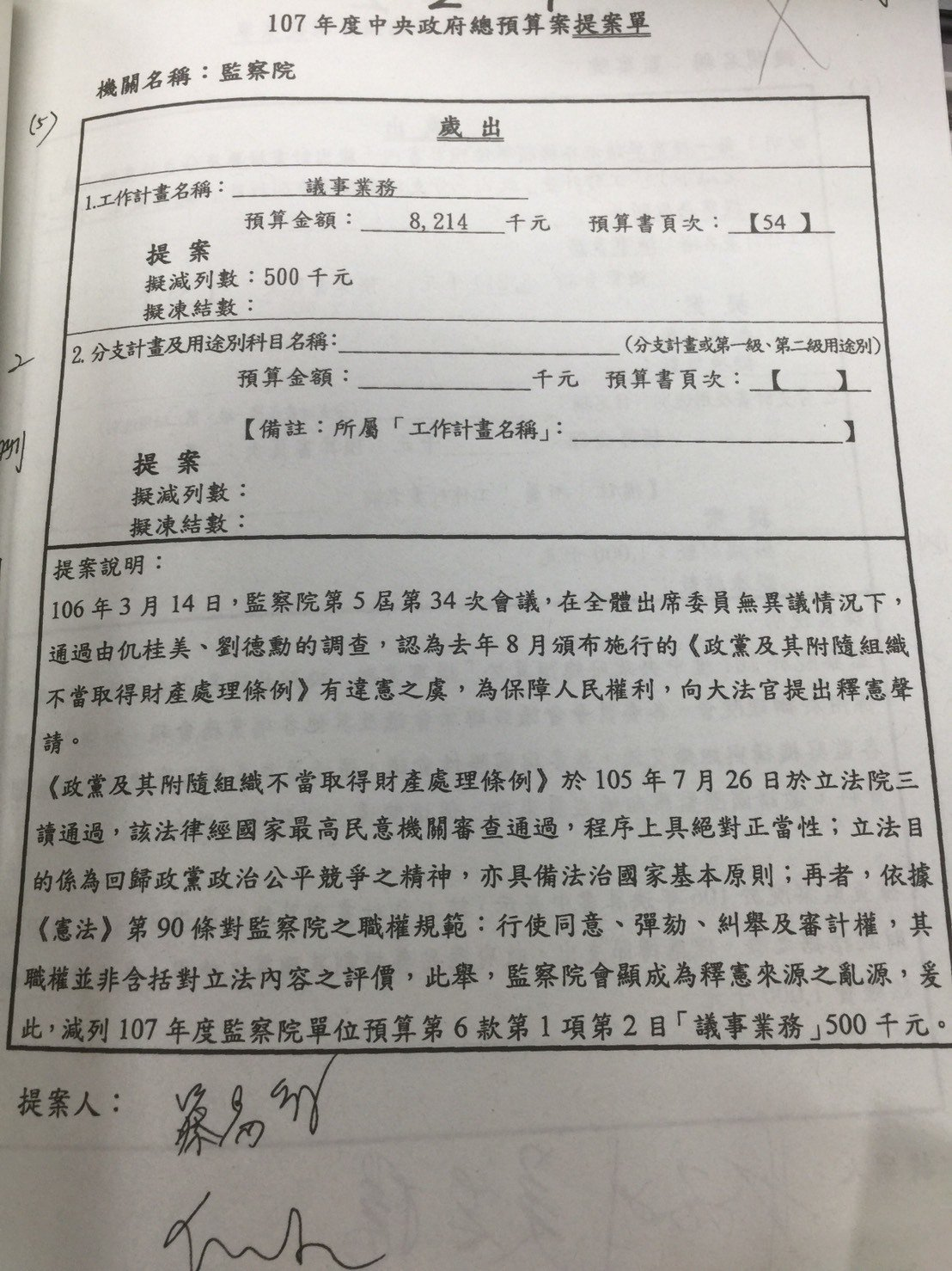 民進黨籍召委蔡易餘原先提案,指出憲法對監察院的職權規範,其職權並非含括對立法內容...