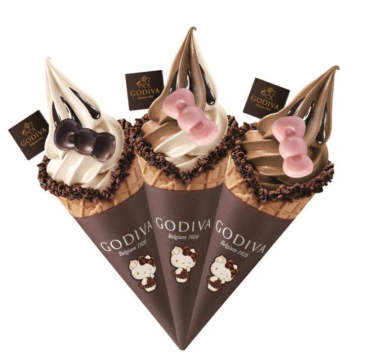 限量Hello Kitty巧克力霜淇淋,售價200元。圖/GODIVA提供