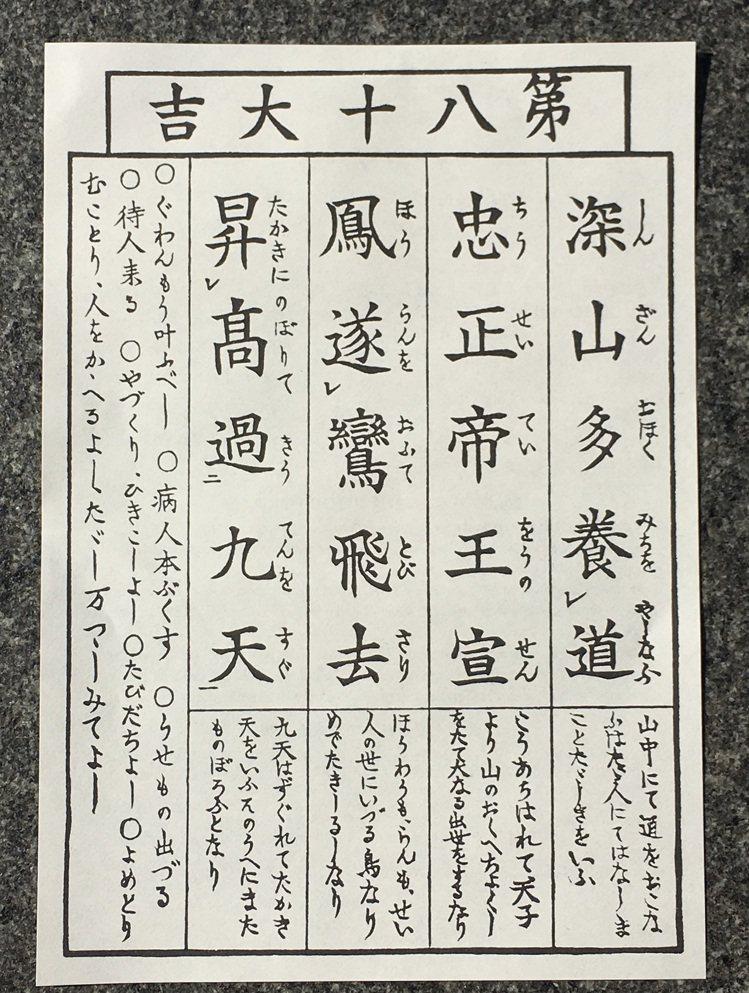 陳竹昇的「大吉」籤,籤詩上竟有他的名字,是好兆頭。圖/海鵬提供