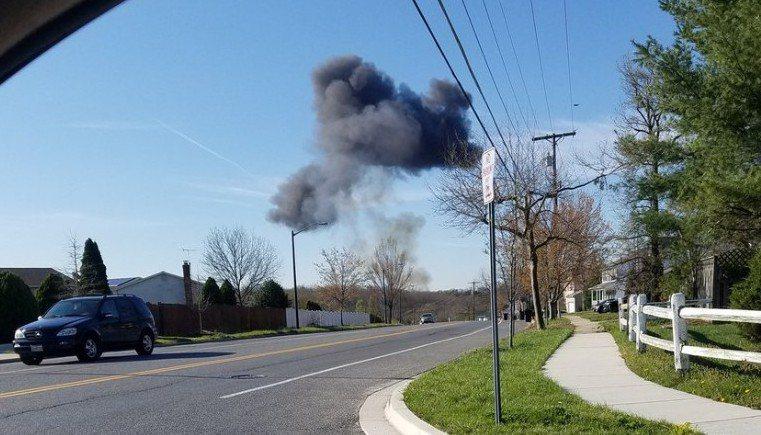 F16戰機在馬里蘭州安德魯聯合基地數英哩外墜機。 (CNN)