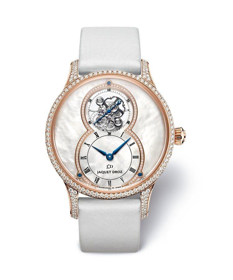 雅克德羅珍珠母貝陀飛輪大秒針腕表,具備7日動力儲存,限量88只,約386萬9,0...