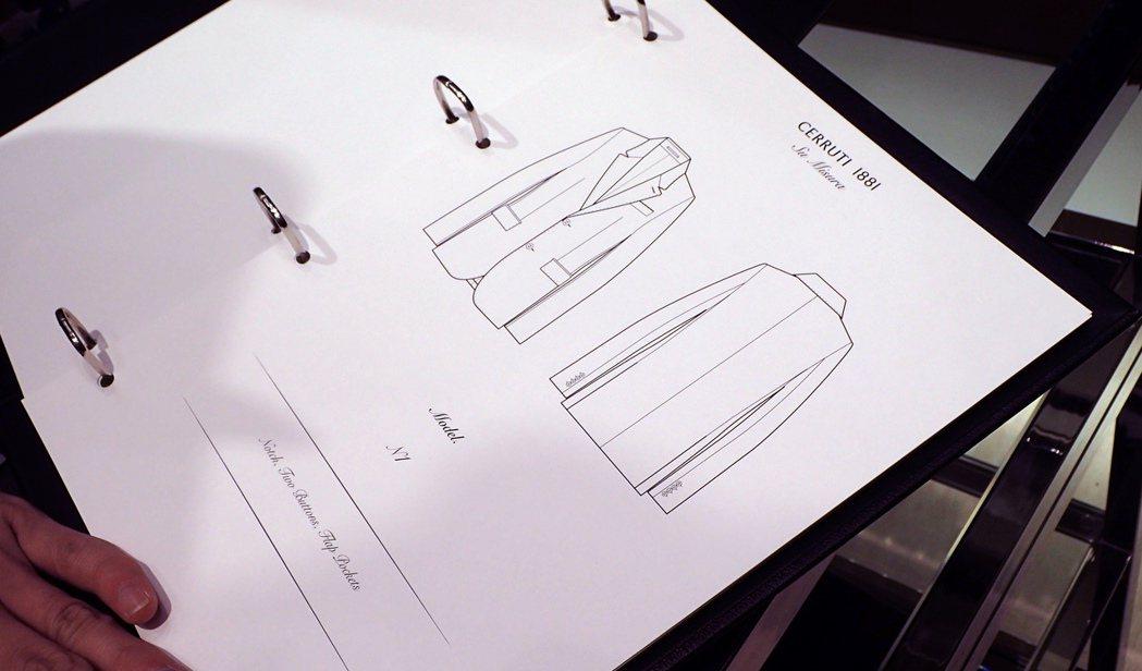 消費者可先藉由樣本圖案來構思喜歡的款式,之後與量身師傅溝通。記者曾智緯/攝影