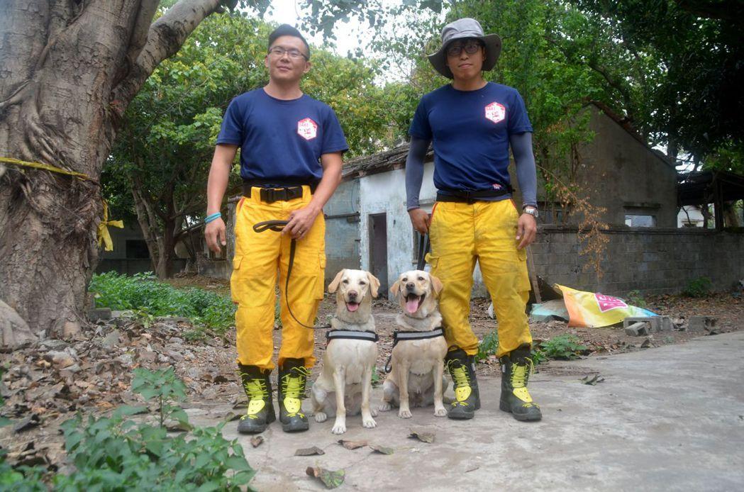 台南市消防局自行馴養的2隻拉不拉多犬Kathy與Kenna通過中級測驗,將可正式...