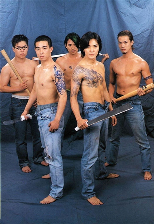 「古惑仔」系列曾在港熱賣,林曉峰(左起)、陳小春、朱永棠、鄭伊健、謝天華的「兄弟...